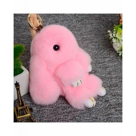 """Меховой брелок """"Заяц"""" 18 см (розовый)"""