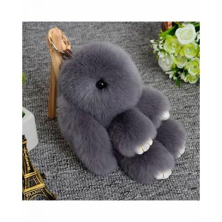 "Меховой брелок ""Заяц"" 18 см (серый)"