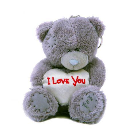 Мишка-брелок Teddy (10 см) с белым сердечком