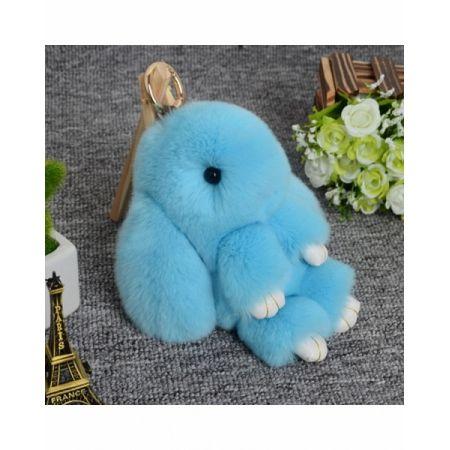 """Меховой брелок """"Заяц"""" 18 см (голубой)"""