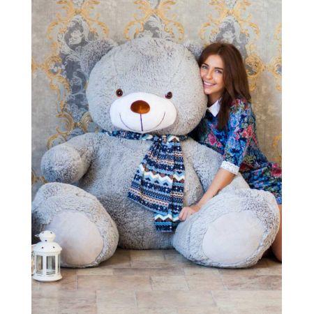 Большой плюшевый медведь Тарас 170 см (серый)