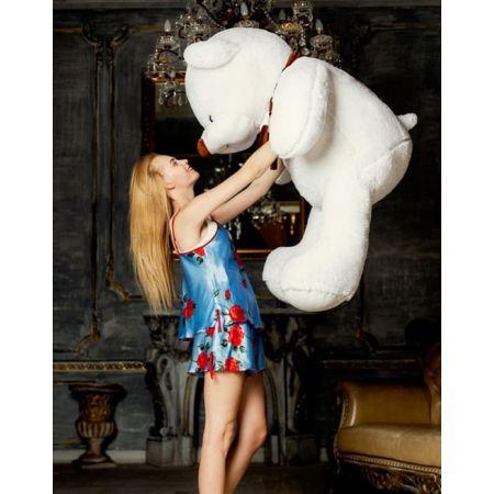 Большой плюшевый мишка Кристиан 170 см (белый)