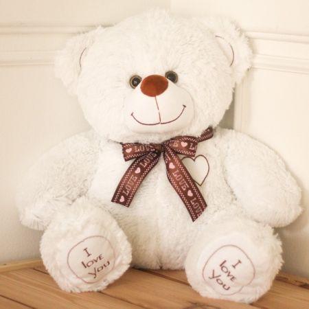 Плюшевый медвежонок Томас 80 см (белый)